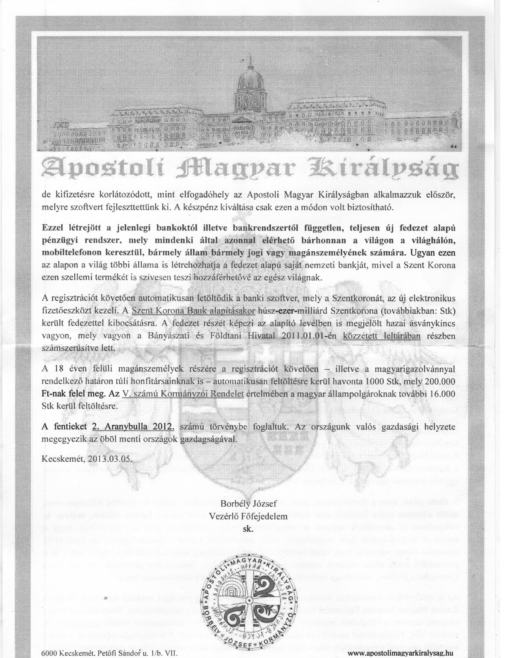 Apostoli Magyar Királyság2